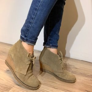 J.Crew Macalister wedge boot Leather 6 olive green